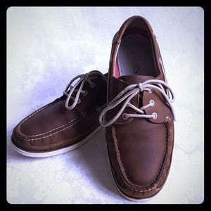 🔵DISC SHIP🔵Chaps Classic Brown Leather Boat Shoe